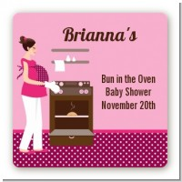 Bun in the Oven Girl - Square Personalized Baby Shower Sticker Labels