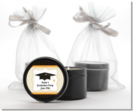 Black & Gold - Graduation Party Black Candle Tin Favors