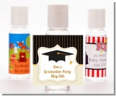 Black & Gold - Personalized Graduation Party Hand Sanitizers Favors