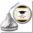Black & Gold - Hershey Kiss Graduation Party Sticker Labels thumbnail