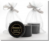 Black and Gold Glitter - Birthday Party Black Candle Tin Favors