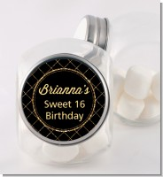 Black and Gold Glitter - Personalized Birthday Party Candy Jar