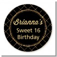 Black and Gold Glitter - Round Personalized Birthday Party Sticker Labels thumbnail