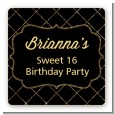 Black and Gold Glitter - Square Personalized Birthday Party Sticker Labels thumbnail