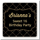 Black and Gold Glitter - Square Personalized Birthday Party Sticker Labels