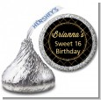 Black and Gold Glitter - Hershey Kiss Birthday Party Sticker Labels thumbnail