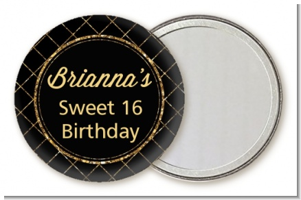 Black and Gold Glitter - Personalized Birthday Party Pocket Mirror Favors