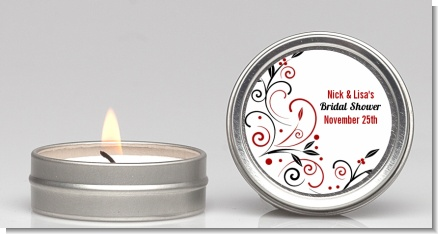 Black and Red Vine - Bridal Shower Candle Favors