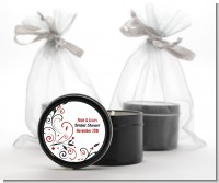 Black and Red Vine - Bridal Shower Black Candle Tin Favors