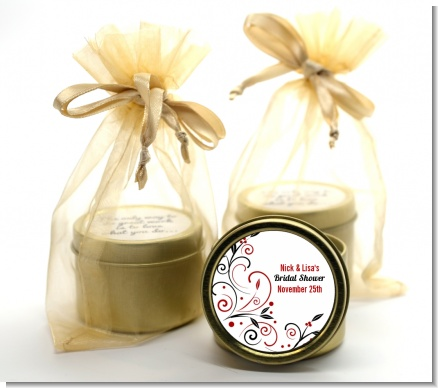 Black and Red Vine - Bridal Shower Gold Tin Candle Favors