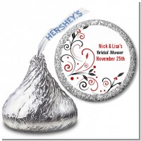 Black and Red Vine - Hershey Kiss Bridal Shower Sticker Labels