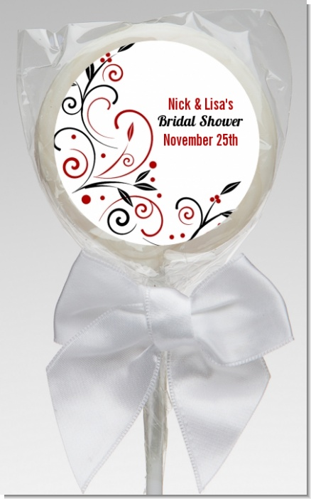 Black and Red Vine - Personalized Bridal Shower Lollipop Favors