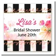 Black And White Stripe Floral Watercolor - Personalized Bridal Shower Card Stock Favor Tags thumbnail
