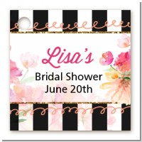 Black And White Stripe Floral Watercolor - Personalized Bridal Shower Card Stock Favor Tags