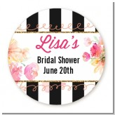 Black And White Stripe Floral Watercolor - Round Personalized Bridal Shower Sticker Labels