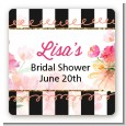Black And White Stripe Floral Watercolor - Square Personalized Bridal Shower Sticker Labels thumbnail