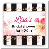 Black And White Stripe Floral Watercolor - Square Personalized Bridal Shower Sticker Labels