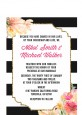 Black And White Stripe Floral Watercolor - Bridal Shower Petite Invitations thumbnail