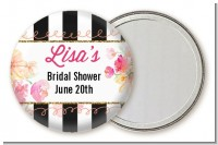 Black And White Stripe Floral Watercolor - Personalized Bridal Shower Pocket Mirror Favors