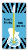Rock Star Guitar Blue - Custom Rectangle Birthday Party Sticker/Labels