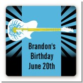 Rock Star Guitar Blue - Square Personalized Birthday Party Sticker Labels