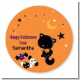 Black Cat - Round Personalized Halloween Sticker Labels thumbnail
