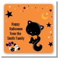 Black Cat - Square Personalized Halloween Sticker Labels thumbnail