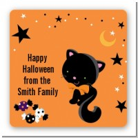 Black Cat - Square Personalized Halloween Sticker Labels