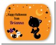 Black Cat - Personalized Halloween Rounded Corner Stickers thumbnail