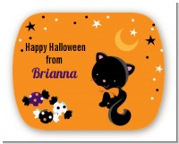 Black Cat - Personalized Halloween Rounded Corner Stickers