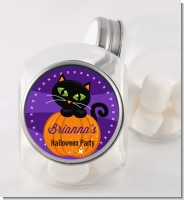 Black Cat Pumpkin - Personalized Halloween Candy Jar