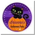 Black Cat Pumpkin - Round Personalized Halloween Sticker Labels thumbnail