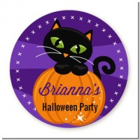 Black Cat Pumpkin - Round Personalized Halloween Sticker Labels