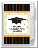 Black & Gold - Graduation Party Personalized Notebook Favor