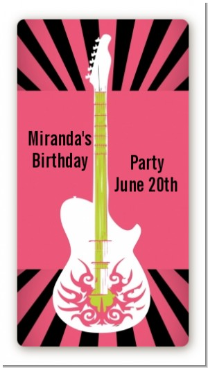 Rock Star Guitar Pink - Custom Rectangle Birthday Party Sticker/Labels
