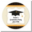 Black & Gold - Round Personalized Graduation Party Sticker Labels thumbnail