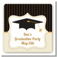 Black & Gold - Square Personalized Graduation Party Sticker Labels thumbnail