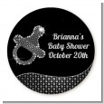 Baby Bling Pacifier - Round Personalized Baby Shower Sticker Labels thumbnail