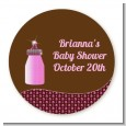 Baby Bling Pink Bottle - Round Personalized Baby Shower Sticker Labels thumbnail