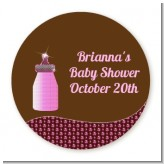 Baby Bling Pink - Round Personalized Baby Shower Sticker Labels