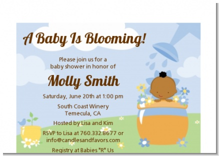 Blooming Baby Boy African American - Baby Shower Petite Invitations