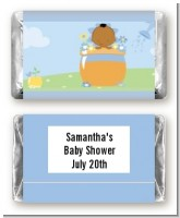Blooming Baby Boy African American - Personalized Baby Shower Mini Candy Bar Wrappers