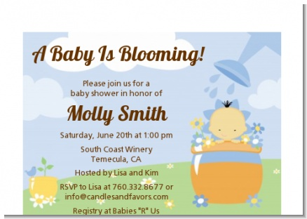 Blooming Baby Boy Asian - Baby Shower Petite Invitations