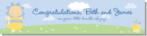 Blooming Baby Boy Caucasian - Personalized Baby Shower Banners