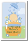Blooming Baby Boy Caucasian - Custom Large Rectangle Baby Shower Sticker/Labels
