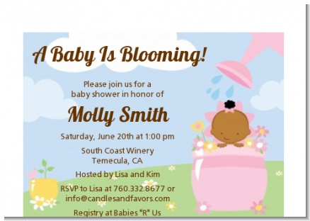 Blooming Baby Girl African American - Baby Shower Petite Invitations