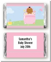 Blooming Baby Girl African American - Personalized Baby Shower Mini Candy Bar Wrappers