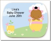 Blooming Baby Girl African American - Personalized Baby Shower Rounded Corner Stickers