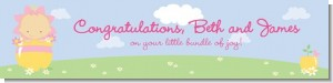 Blooming Baby Girl Caucasian - Personalized Baby Shower Banners