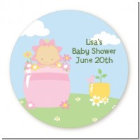 Blooming Baby Girl Caucasian - Round Personalized Baby Shower Sticker Labels